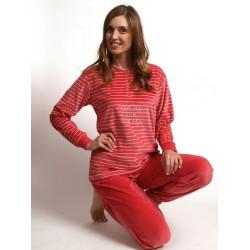 outfitter dames pyjama velours spons nikki streep 651905