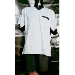 Heren-nachtkleding-pyjama-shortama-korte-broek-mouwen-katoen-boxershort