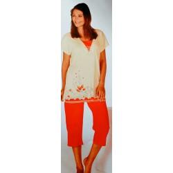 Dames-nachtkleding-pyjama-kniebroek-piratenbroek-korte-mouwen