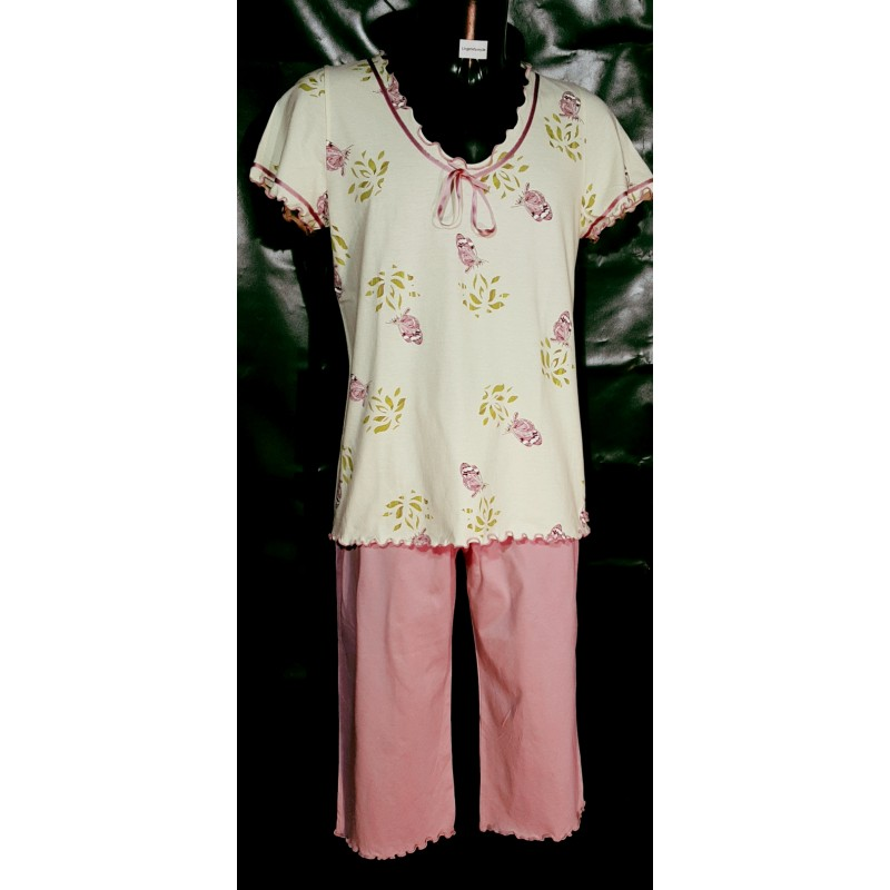 Dames-nachtkleding-pyjama-piratenbroek-korte-mouwen-katoen-kniebroek